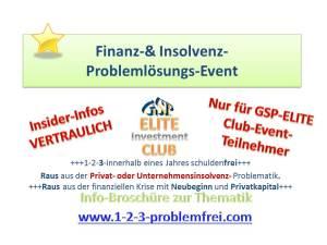 Finanz-& Insolvenz-Problemlösungs-Events im Juli-August in Deutschland