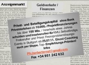 Anzeige Privat-u. Beteiligungskapital in einer Regional-Zeitung