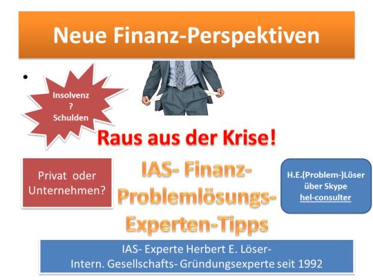 Hast du Probleme mit deinem Unternehmen oder bist du (auch Privat) in der finanziellen Krise? Dann helfen wir dir- auf Erfolgshonorar-Basis!