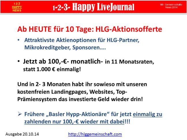 Attraktivste Aktienoptionen für HLG-Partner, Mikrokreditgeber, Sponsoren….