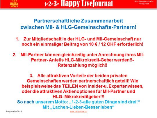 Partnerschaftliche Zusammenarbeit zwischen MII- & HLG-Gemeinschafts-Partnern!