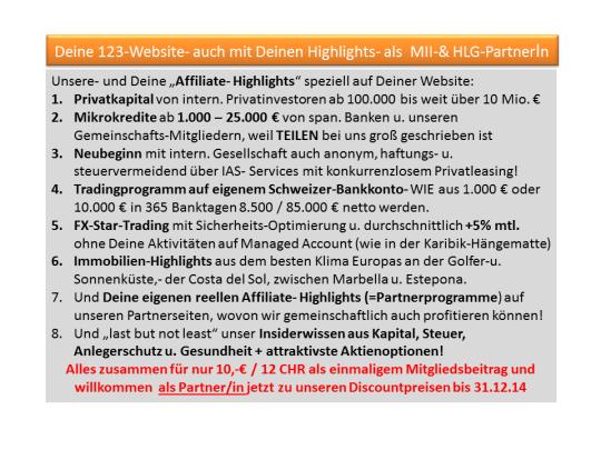 """Unsere- und Deine """"Affiliate- Highlights"""" speziell auf Deiner Website"""