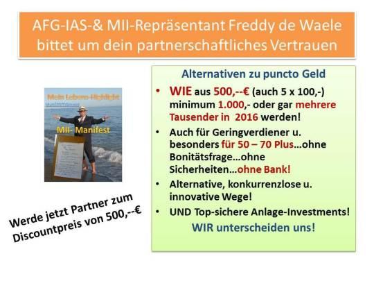 IFS-Europa-Repräsentant und AFG-MII-IAS Freddy de Waele bietet partnerschaftliche Zusammenarbeit an.